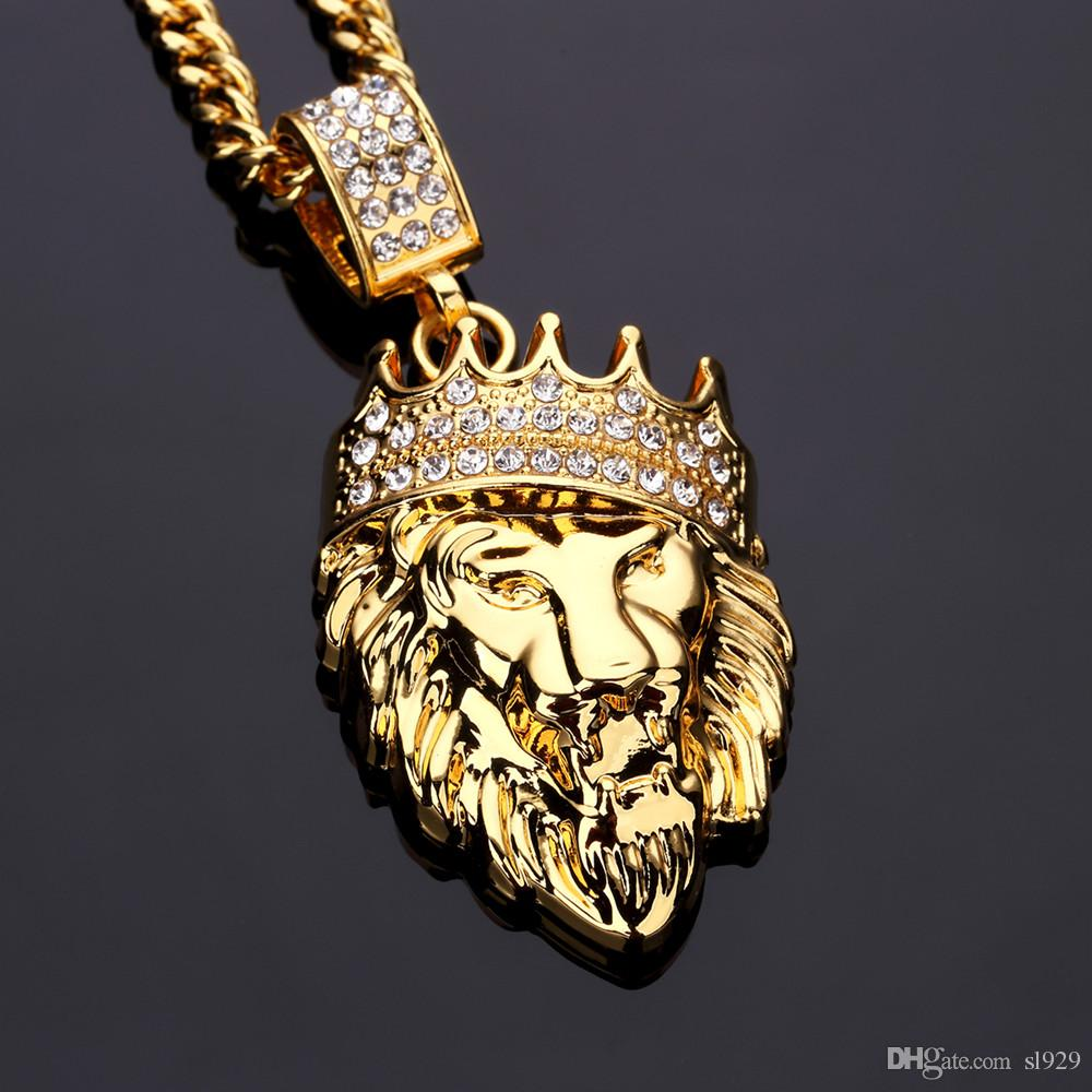 Wholesale 2017 Fashion New 18k Gold Diamond Crown Lion