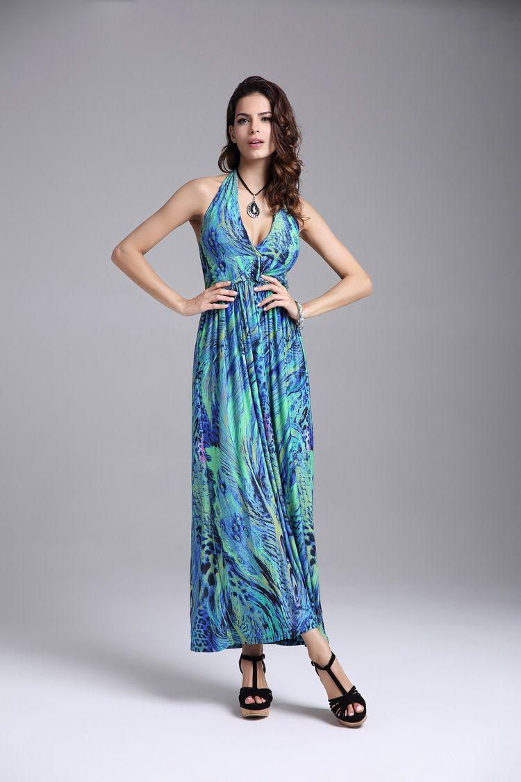 Boho Summer Beach Sexy dress Peacock Printed Sleeveless Deep V-Neck Plus Size Long Dress Backless vestidos Femal