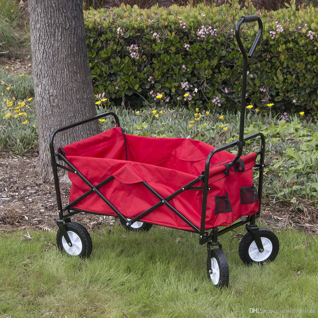 Wonderful Online Cheap Folding Utility Wagon Collapsible Garden Cart Shopping Beach  Toy Sports Cart Red By Newlife2016dh | Dhgate.Com