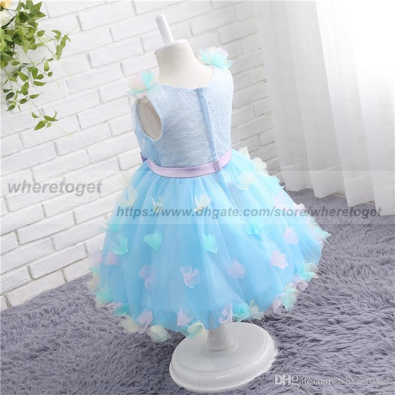 2018 Communion Dresses For Baby Girls Pageant Light Sky Blue Tulle Ball Gowns lace Flower Girl Dress For Weddings tea Length With bow