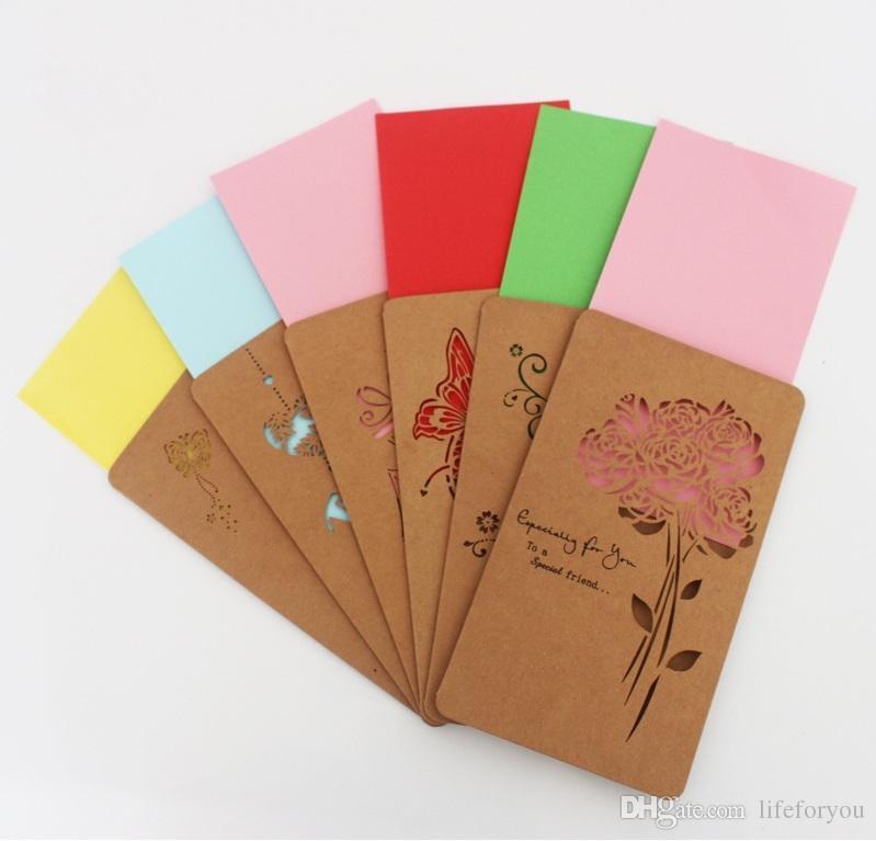 Acheter Cartes De Voeux Creux Decoupe Laser Salutations Carte Mariage Danniversaire Visite Valentine Avec Enveloppe En