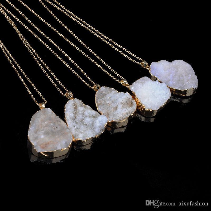 Нерегулярное Природный камень Кварцевый Подвески ожерелье Drusy Druzy цвета золота цепи ожерелье Заявление для женщин