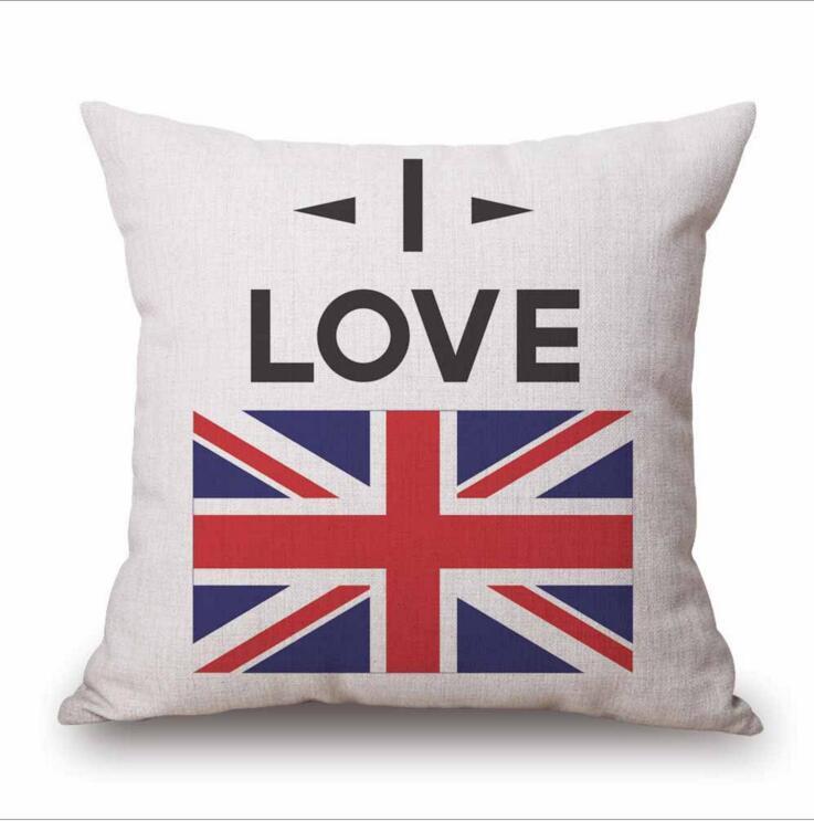 Amo Reino Unido Fundas de almohada de lino de algodón Fundas de almohada de tiro Reino Unido Bandera Funda de almohada impresa Fundas de cojines Decoraciones para el hogar 18 * 18 pulgadas