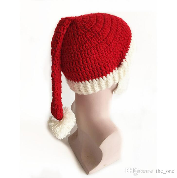 2016 New Fashion Funny Handmade Winter Mens Christmas Santa Claus Knit Hats With Moustache Masks For Christmas Party Gifts in stock