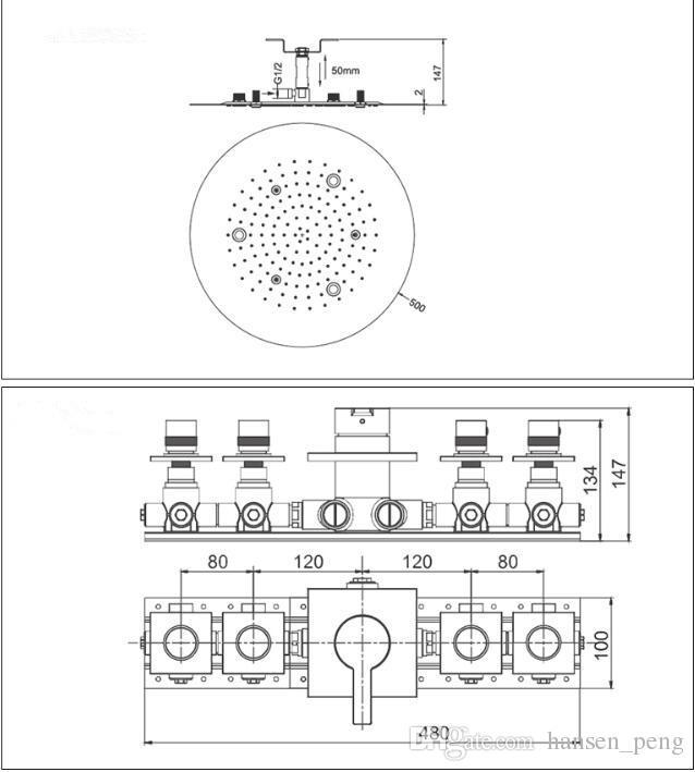500mm ottone rotondo soffitto doccia monsonica interruttore termostatico led top doccia lampade massaggio laterale agopuntura spray getti 8009