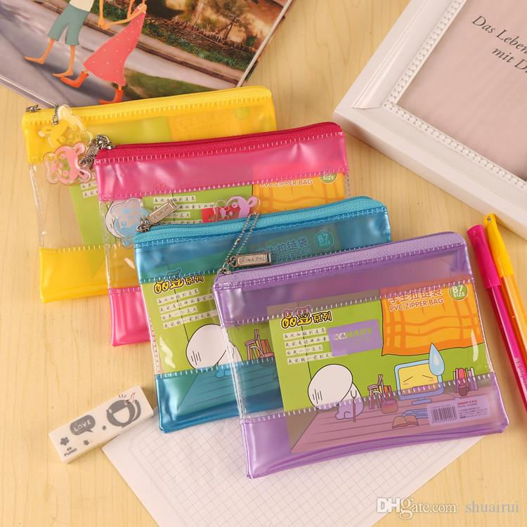 PVC plastic transparent cartoon design kawaii pencil case pencil bag pouch stationery plastic envelope document pouch school supplies