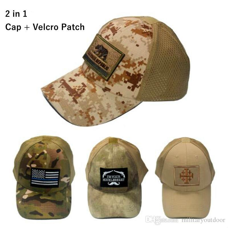 VC-17 Men Women summer Baseball Cap with patch 2 in 1 mesh Tactical Cap Sun Hat Outdoor Hunting Camping special forces military hats
