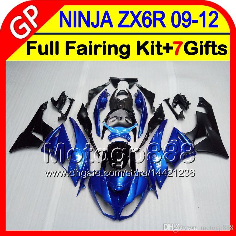 Glossy blue 7gifts Para KAWASAKI NINJA ZX 6 R ZX636 09-12 ZX6R 09 10 11 12 5HM1 ZX 636 ZX-6R ZX 6R 2009 2010 2011 2012 Fairing Blue black