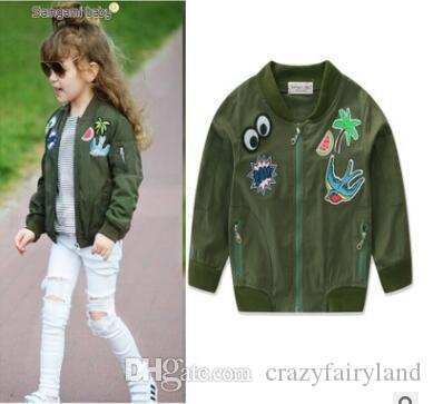 Girls Army Green Jacket Coat Outerwear Spring Fall Kids Tops ...