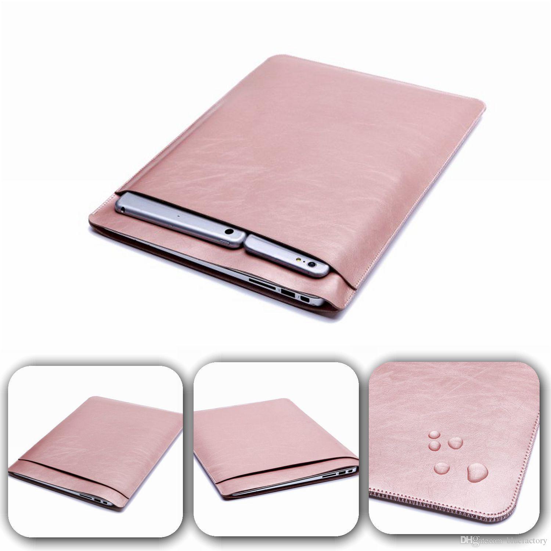 4c30158c23 Acheter Luxe Retina Sleeve Case Double Pont Pochette Pocket Macbook  Ordinateur Portable Sacs En Cuir PU Housse De Protection Pour Apple MacBook  Air 11 13 12 ...