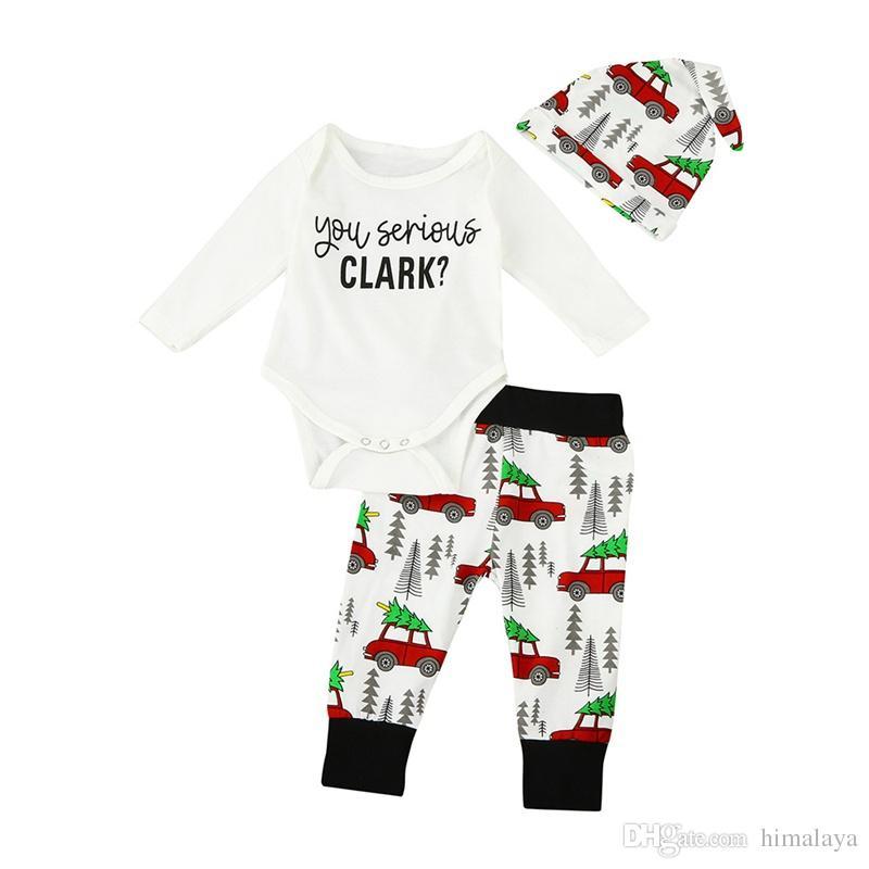 2017 Baby Jungen Weihnachten Kleider Kinder drei Stück Kleidung Kleinkind Herbst Sets Kinder Hut Spielanzug Hosen Anzug für 70-100cm