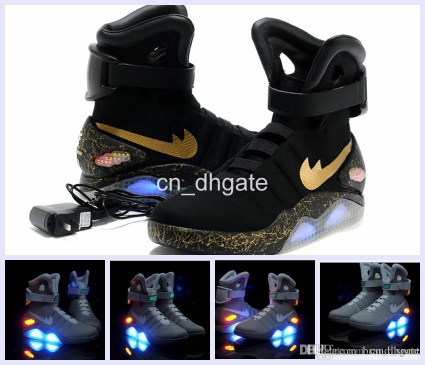 huge discount a0de5 edad6 2016 Air Mag AKA Marty McFly Basketball Shoes Back To The Future Glow In  The Dark Sole Mag Limited Edition Air Mags Sneaker Led Lights Kids Sneakers  Shoes ...