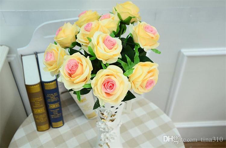 Toptan-yapay güller Çiçek sahte İpek tek güller düğün Centerpieces için çok renkler ev Partisi dekoratif çiçekler A0744