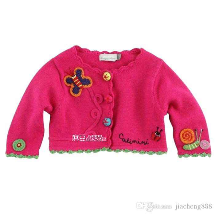 New Children Girls butterfly snail Knitting sweater Three-dimensional flowers cardigan sweaters wholesale