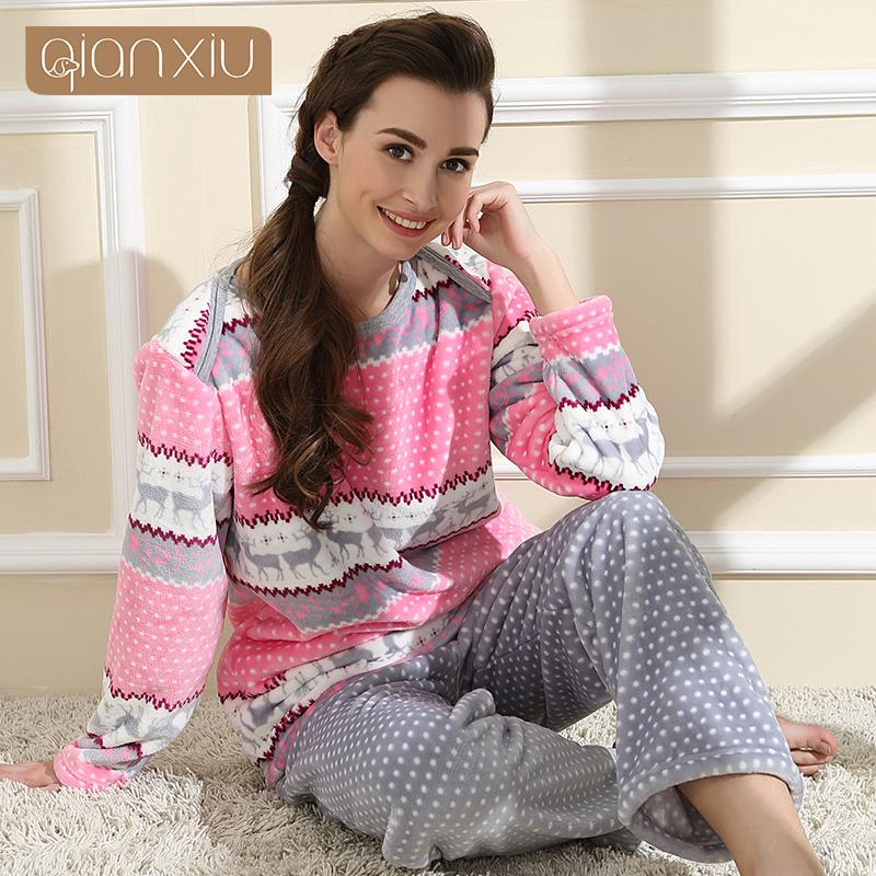 Wholesale- Qianxiu Brand Pajamas Winter Women Homewear Flannel ... 2612b96e7