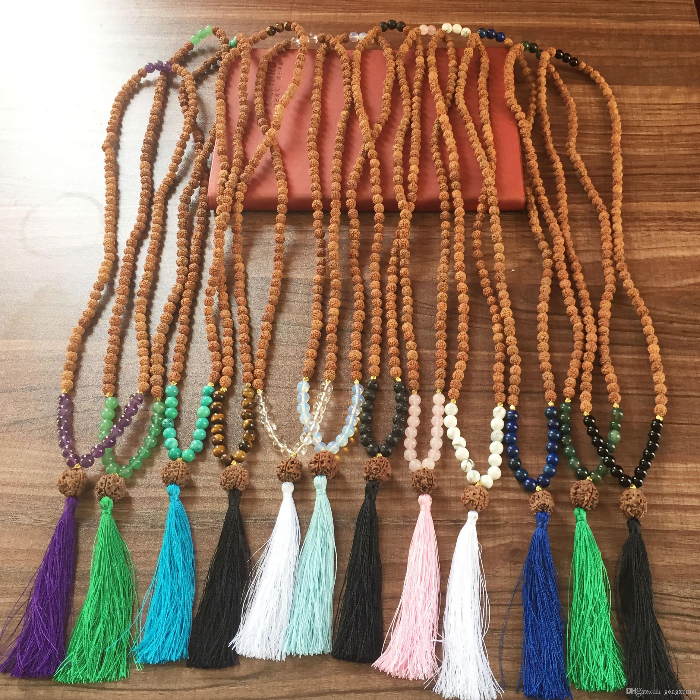 Purple Quartz 108 Mala Beads Yoga Meditation Beads Bohemian Tassel Necklace Heart Chakra Necklace Bodhi necklaces Rudraksha Prayer