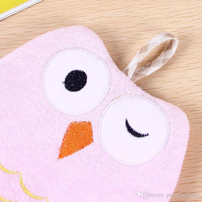 Baby Sponge Skin Rub Mitt Niños Niño Cepillo de baño Owl Shape Body Glove Toalla de baño de baño Accesorios de baño ZA3846
