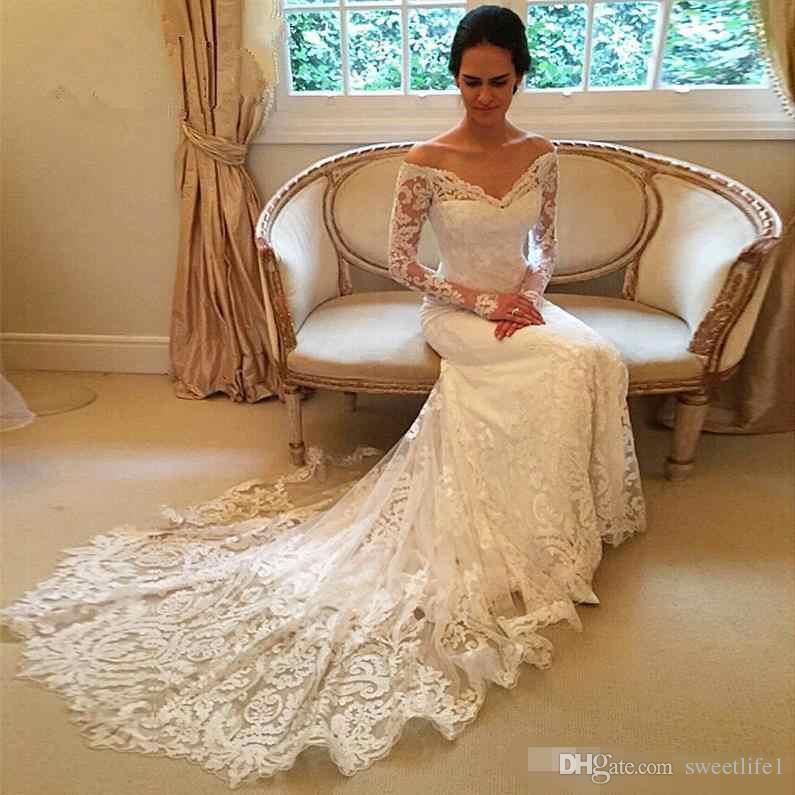 Gorgeous Long Sleeve Lace Mermaid Wedding Dresses 2017 Dubai African Style Petite Natural Slin Fishtail Off-shoulder Train Bridal Gowns
