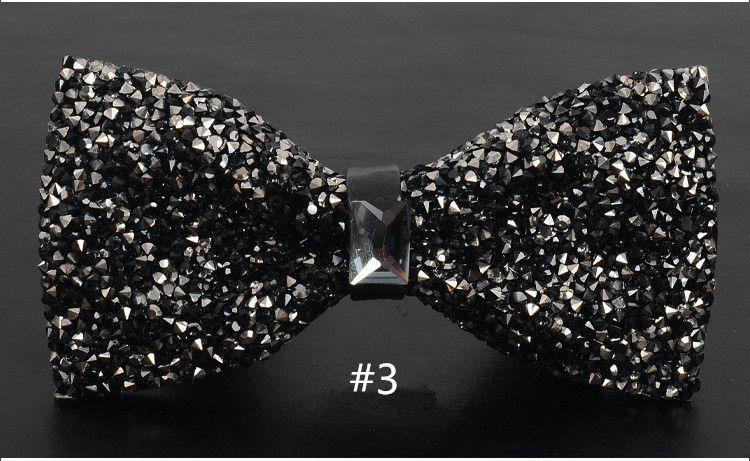 Homens Moda de Luxo Diamante Bow Tie Glitter Cristal Rhinestone Homens Tuxedo Bow Tie Triângulo Ajustável para o Presente da Festa de Casamento