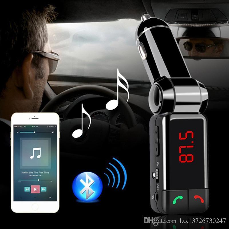 أحدث اكسسوارات السيارات العالمي مصغرة شاحن سيارة بلوتوث يدوي مع منفذ شحن USB مزدوج 5V / 2A LCD يو القرص FM بث MP3 AUX