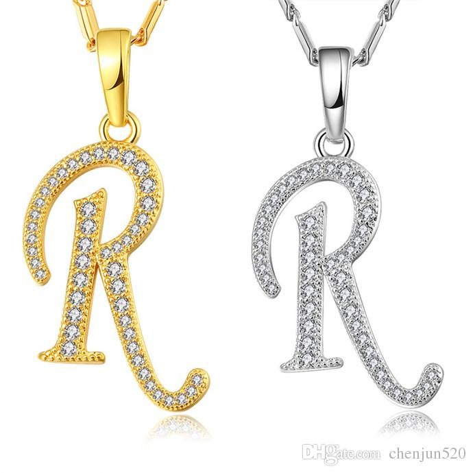 57e35f75191 Wholesale NAKELULU Capital Initial R Letter Necklace   Pendant Gold Color  Cubic Zirconia Crystal Alphabet Jewelry For Women Fashion Horseshoe Pendant  ...