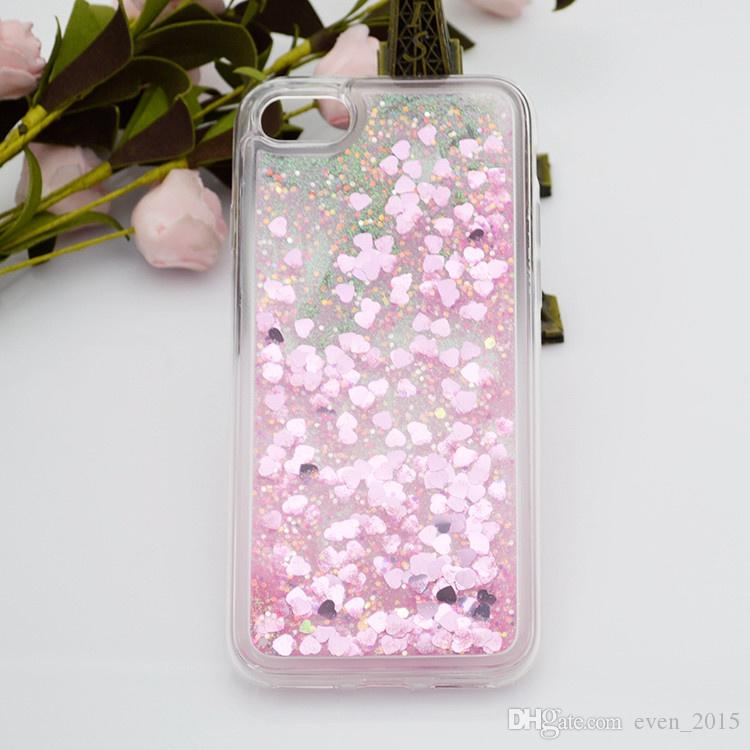 Custodie flottanti iPhone X ten 6 plus Heart Quicksand Liquid Samsung on5 G5 K7 K10