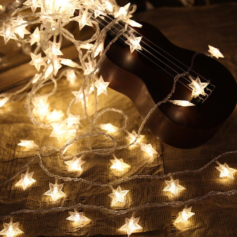 6M 40Leds Fairy Christmas Lights Star Battery LED String Lights For Holiday  Wedding Party Outdoor Indoor Curtain Decor Light P15 Rose String Lights Led  ... - 6M 40Leds Fairy Christmas Lights Star Battery LED String Lights For