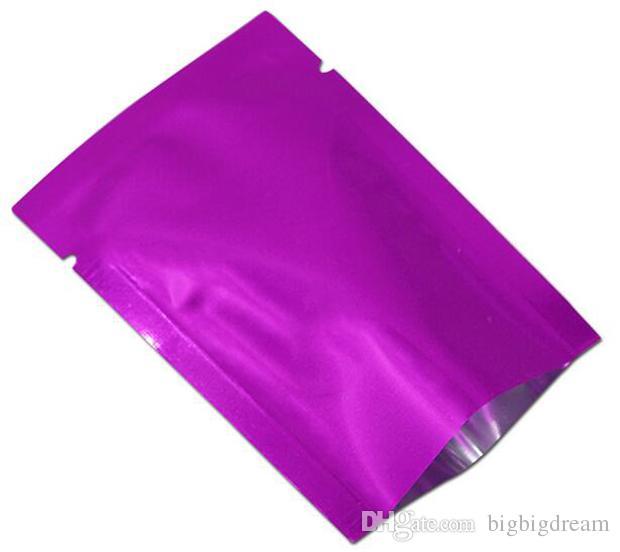 200 шт./лот с открытым верхом фиолетовый вакуумный майлар мешок тепла печать алюминиевой фольги для хранения пищевых продуктов упаковка сумка для кофе сахар упаковка пластик