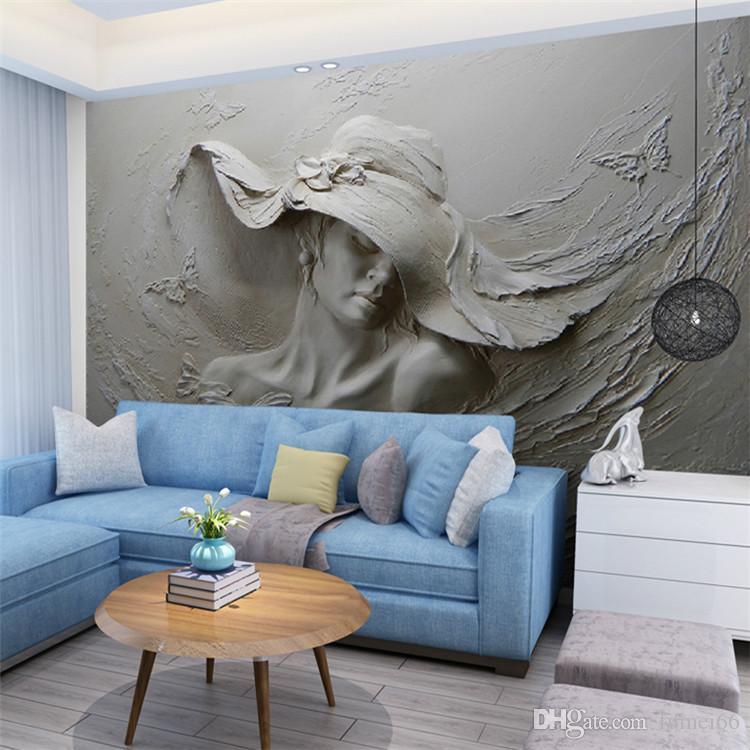 Papier peint personnalisé 3D stéréoscopique en relief gris beauté peinture à l'huile
