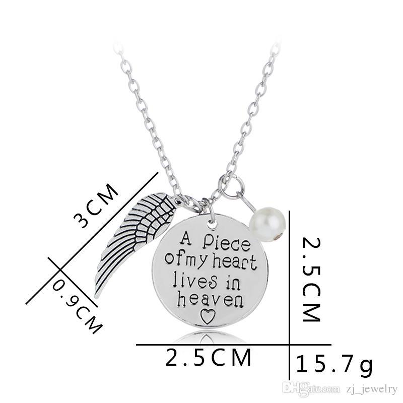 'Una parte de mi corazón vive en el cielo' Collar personalizado a mano conmemorativa Collar conmemorativo Memoria Angel Wing Jewelry