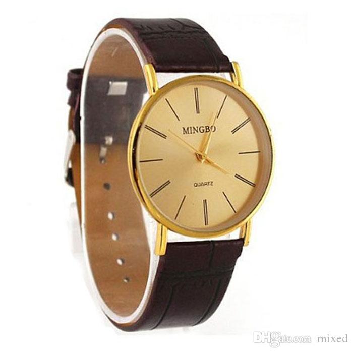 Роскошные золотые нежные мужские мужские часы с кожаным ремешком кварцевые наручные часы