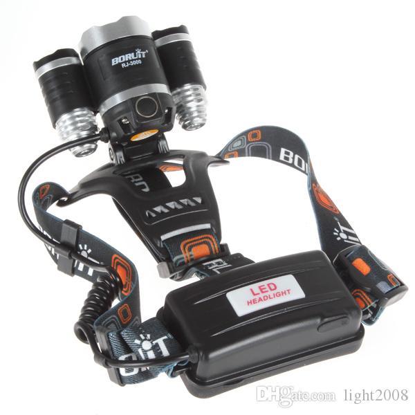 Bom preço 8000 Lumen T6 + 2R5 Boruit Head Light Farol Cabeça Ao Ar Livre Lâmpada de Luz HeadLight Recarregável por 2x18650 Bateria de Pesca Camping