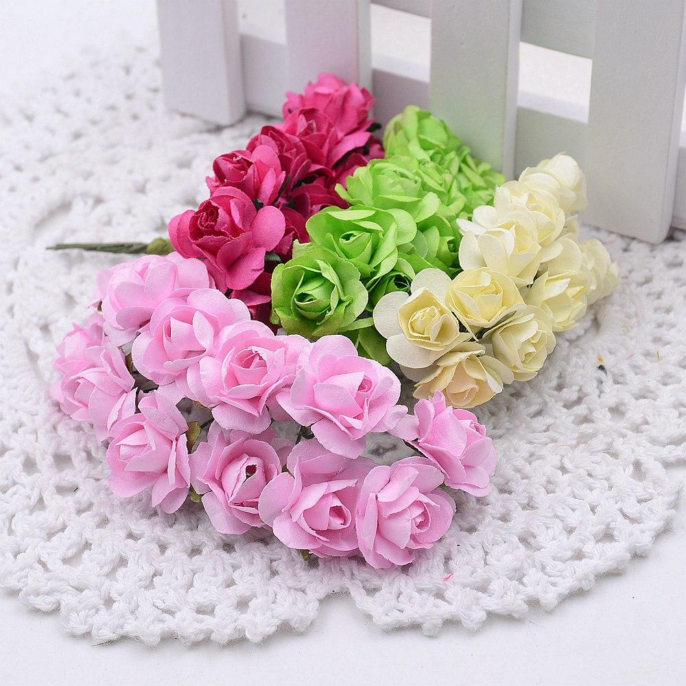 2018 Wholesale 1cm Mini Paper Rose Flowers Bouquet Wedding