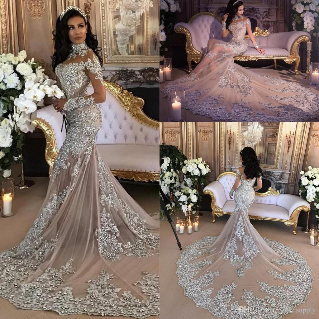 Luxury Sparkly 2018 Mermaid Wedding Dress Sexy Sheer Bling Beads Lace Applique High Neck Illusion Long Sleeve Chagne Trumpet Bridal Gowns Cheap: Sparkly Accessories For Wedding Dress At Websimilar.org