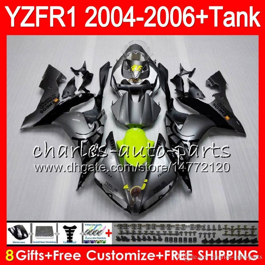 8Gift Cuerpo para YAMAHA YZF R 1 YZF 1000 YZFR1 04 05 06 58HM21 Plata negro YZF-R1000 YZF-R1 YZF1000 YZF R1 2004 2005 2006 Kit de carenado