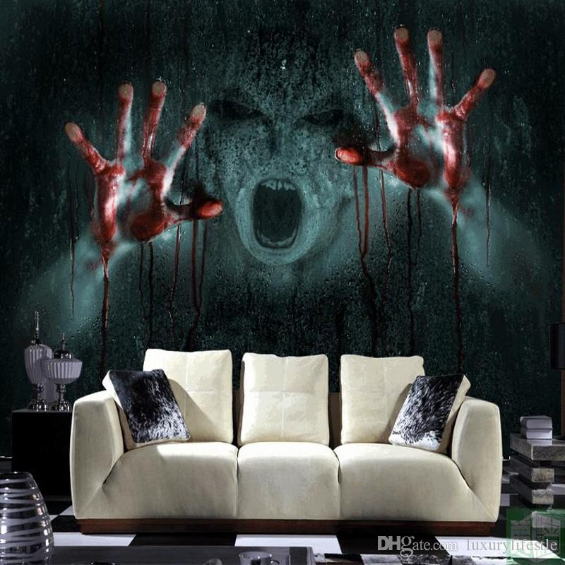 3d Stereo Escape Offbeat Eerie Wallpaper Hands Blood Devil Super Scary Horror Custom Haunted Mural Wallpapers Hd Background From