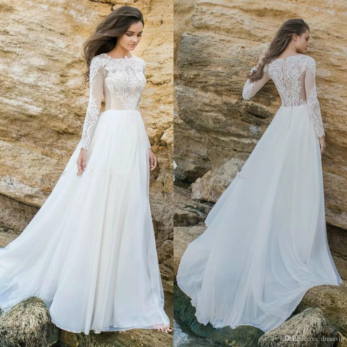 Discount Long Sleeves Beach Wedding Dresses 2018 Eva Lendel Sweep ...