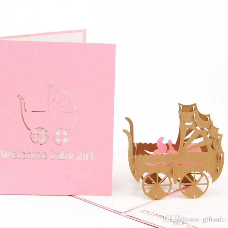 Pink blue baby car kirigami origami paper arts and crafts 3d laser cut birthday postcards greeting cards