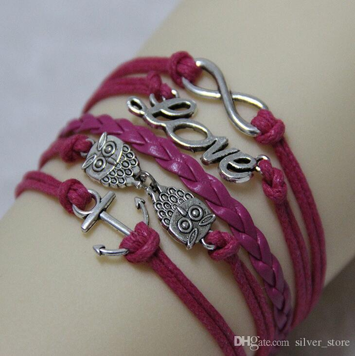 Vente chaude rétro ornements hibou ancre LOVE8 mot bracelet tissé à la main FB149 ordre de mélange 20 pièces beaucoup bracelets de charme