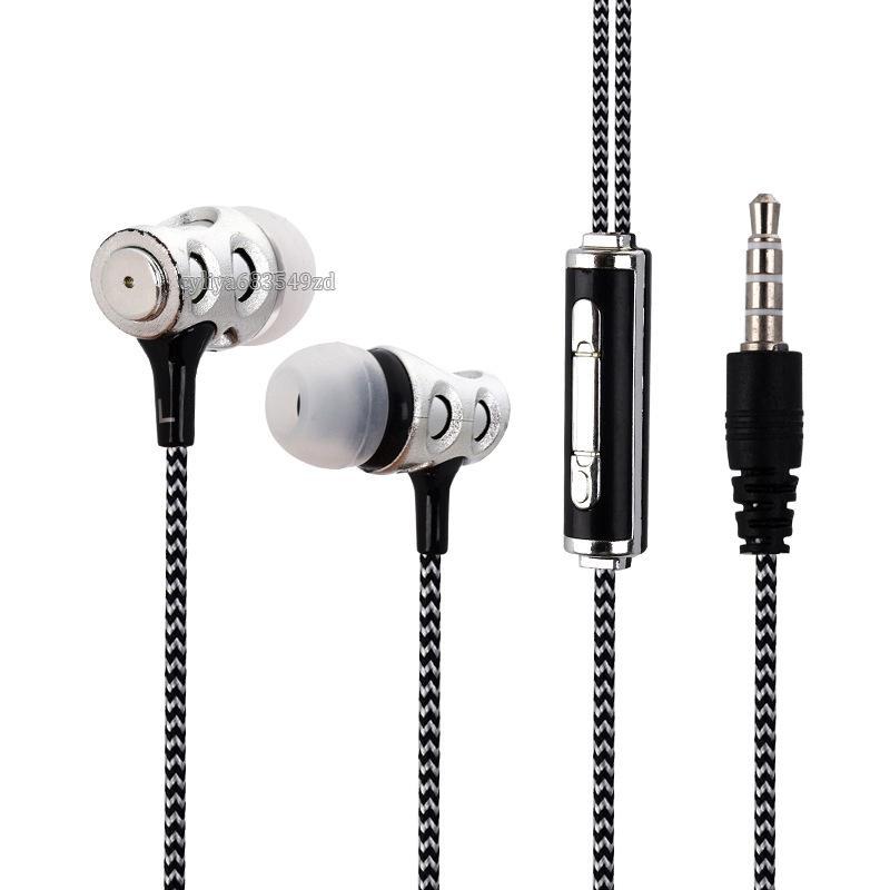 Chegada nova fone de ouvido universal 3.5mm em fones de ouvido fones de ouvido trançado fone de ouvido fone de ouvido com microfone Fones De Ouvido Para smartphone android móvel