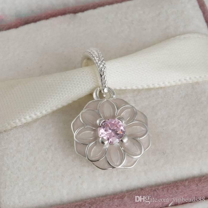 Fleurs de printemps en émail rose pendentif perles charme 100% 925 Sterling-Silver-bijoux clair symboles perle bricolage bracelets bracelets accessoires