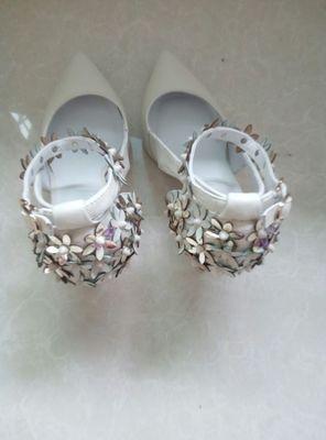 wholesale factory price hot seller bandage flower pure Cowskin pointed toe diamond women dress shoe 195