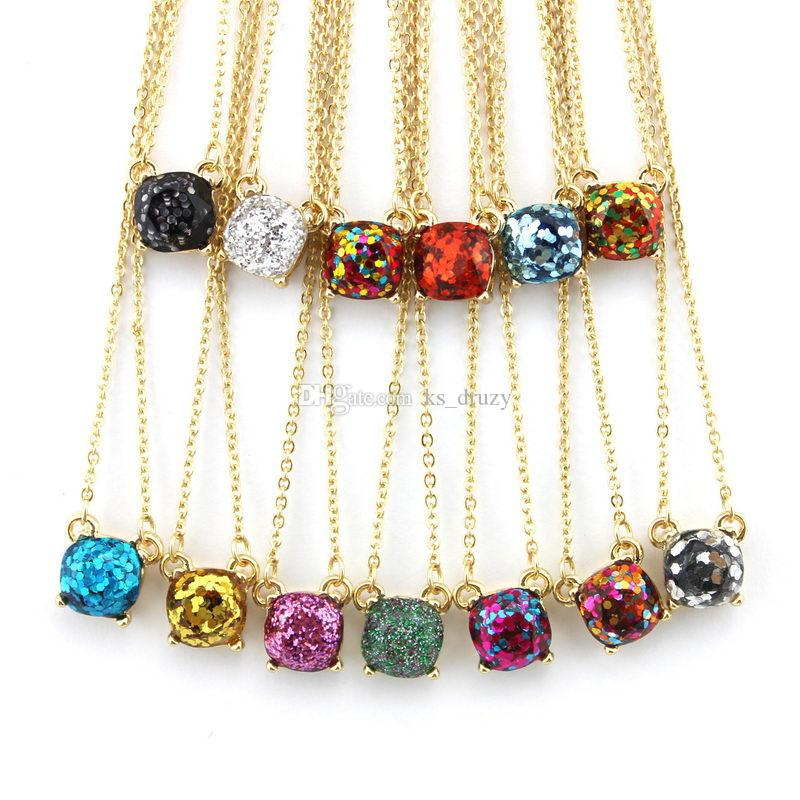 14 Colors Option Galaxy Square Glitter Necklace Women Rainbow Opal Choker Necklace gold color brand jewelry for women Wholesale