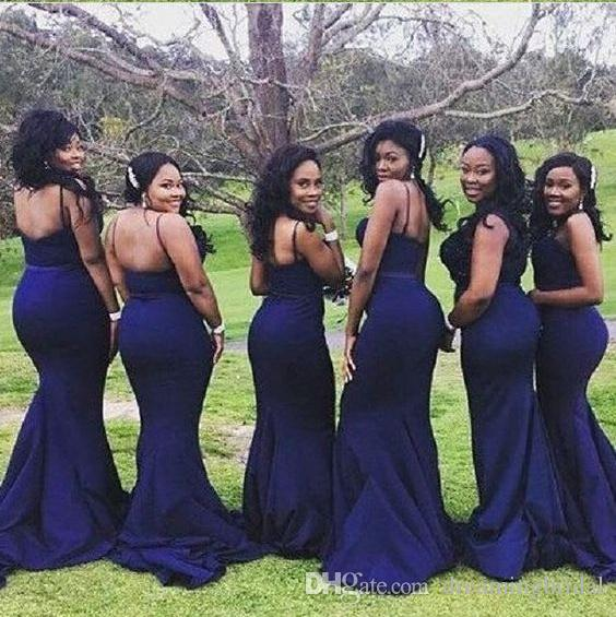 Sexy Navy Blue Mermaid Bridesmaid Dresses 2017 New Sleeveless Sweetheart Floor Length Formal Wedding Gown Party Dress Custom Made Plus Size