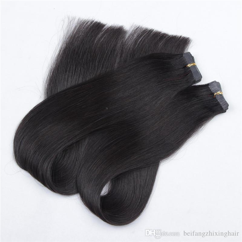 Whosale Price Grade 7A-- 100% Human PU Tape in Hair Extensions 2.5g/pcs &150g#1 Jet Black DHL FREE