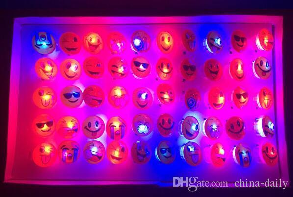 espressione divertente volto sorridente bagliore led light up flash bubble anello elastico rave party lampeggiante morbido finger lights il partito discoteca ktv