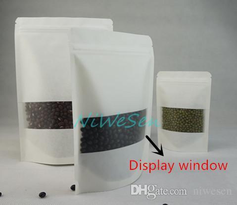 Sac à fermeture à glissière de café de 12x20cm, / blanc stand up papier ziplock sac de papier avec pochette de noix de pistaches clair-refermable mat