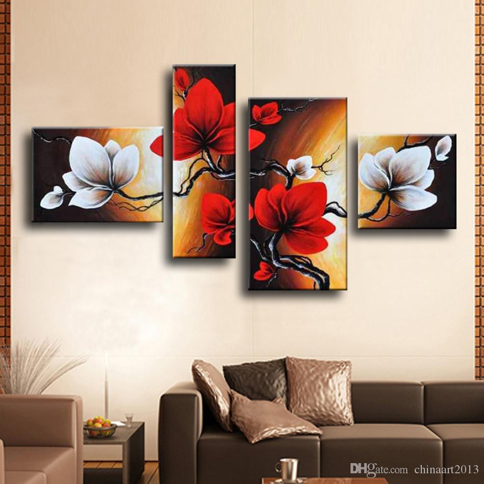 2018 Modern Abstract Flower Oil Painting Hand Painted Red White Wall