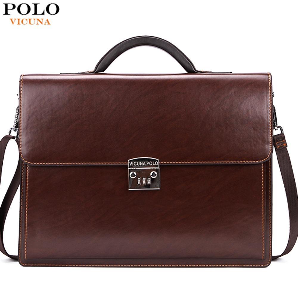 b4c3670ea71 Wholesale VICUNA POLO Luxury Famous Brand Password Lock Leather Bag Men  Briefcase Business Office Bag Leather Maleta Large Man Portfolio Leather  Shoulder ...