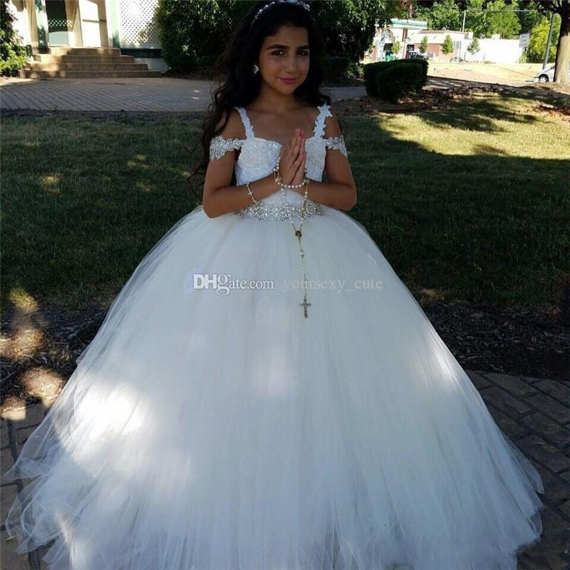 2017 Newest White Flower Girls Dresses For Weddings Off Shoulder Crystal Waist Tulle Floor Length Indian Ball Gown Children Wedding Dresses